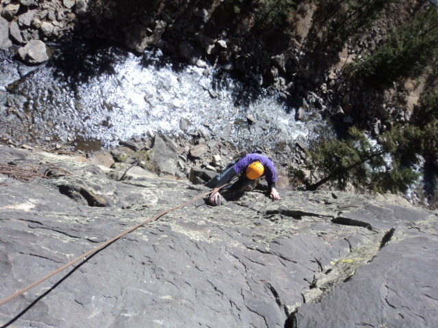 Rock Climbing Photo: Dave accessing the right side of Creek Side.  FWIW...