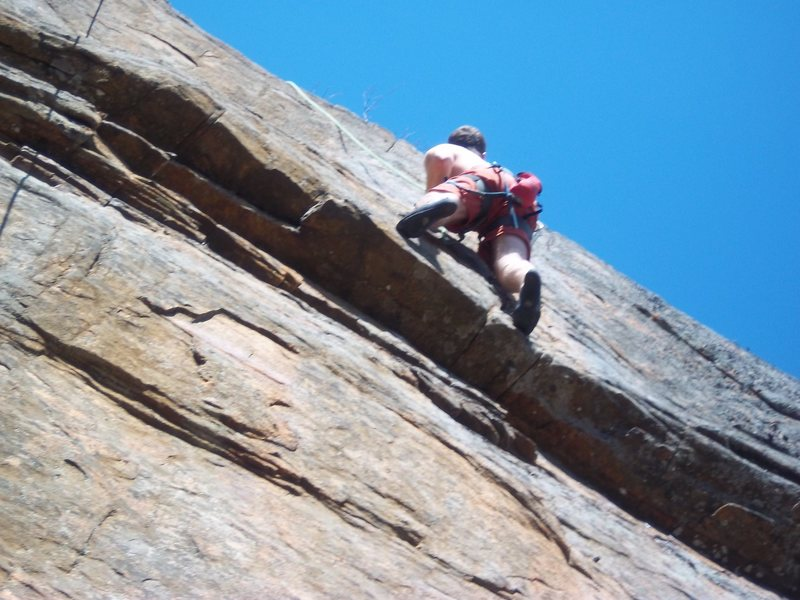 Rock Climbing Photo: Scott Arno entering the crux of Roaches on the Wal...