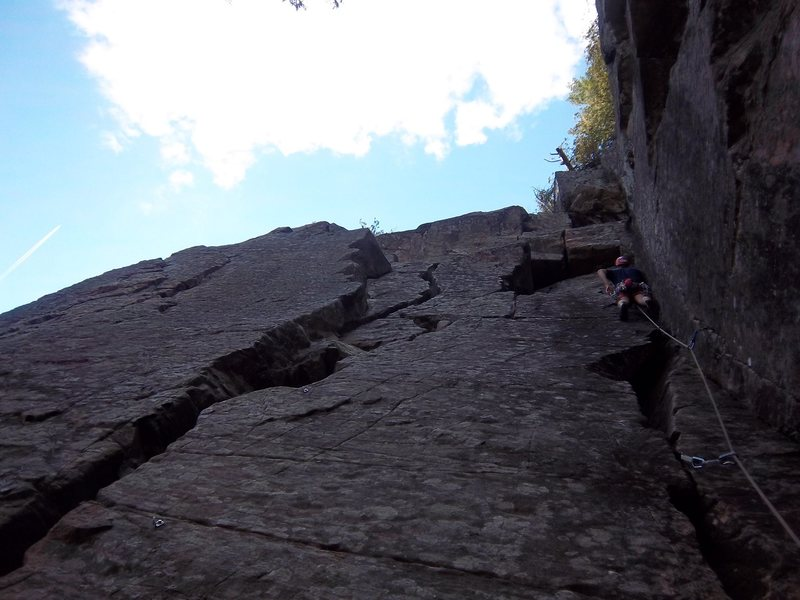 Rock Climbing Photo: Scott Arno leads Space Cowboy(5.7)