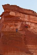Rock Climbing Photo: Ben Riley thinking the final sport pitch on Sacred...