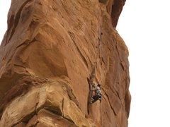Rock Climbing Photo: Pitch 1. Chip Wilson jumaring to the high point on...