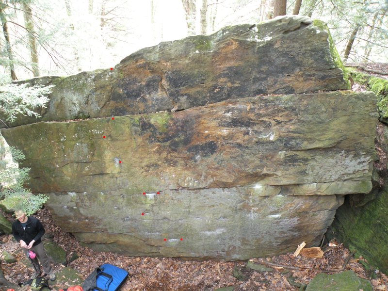 Birthday boulder, with sit start marked by red dots
