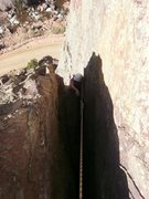 Rock Climbing Photo: Finishing up the crux of the 2nd pitch.  It's funn...