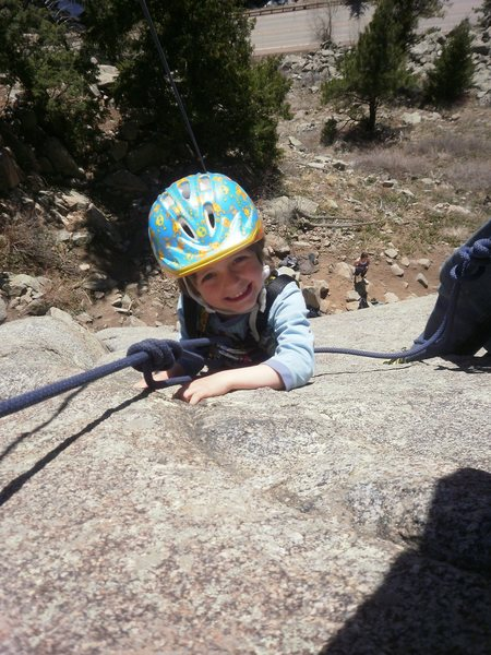 Rock Climbing Photo: Kiran on his first roped climb!  Age 4.