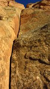 Rock Climbing Photo: From the start of the route.  Crux is the steeper ...