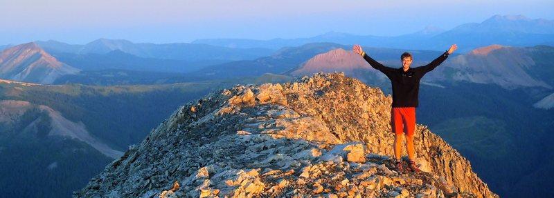Sunrise after camping on the summit of Engineer  Peak 12,968 feet, Colorado