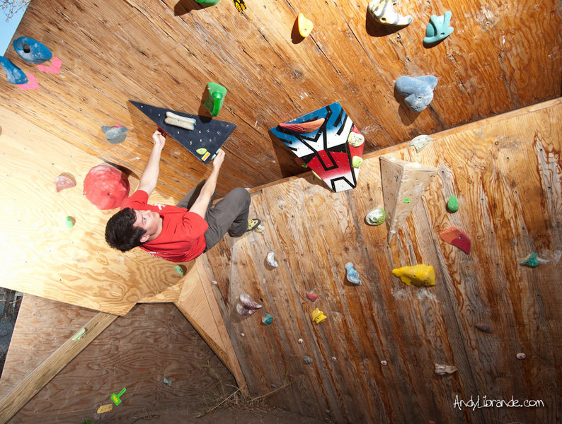 Taking a Test Drive on the new Triangle Volume. <br> <br> http://andylibrande.com/homeclimbingwall/2012/03/build-a-triangle-wood-volume-for-your-climbing-wall/