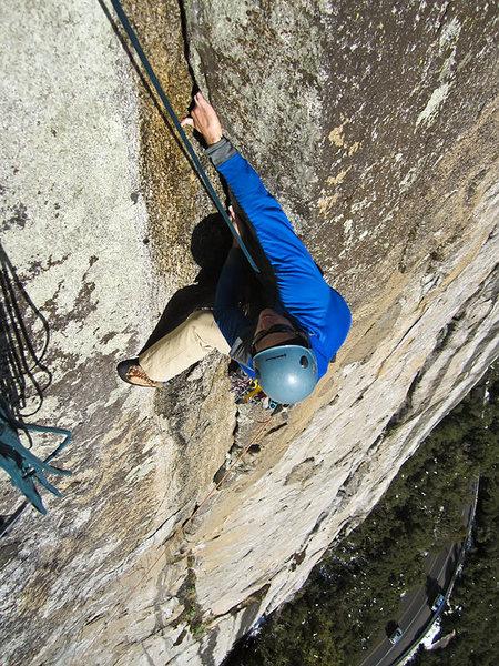 Rock Climbing Photo: My buddy following p4 of Dream Easy.