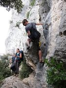 Rock Climbing Photo: Narrow trail traffic jam at the base of Settore Su...