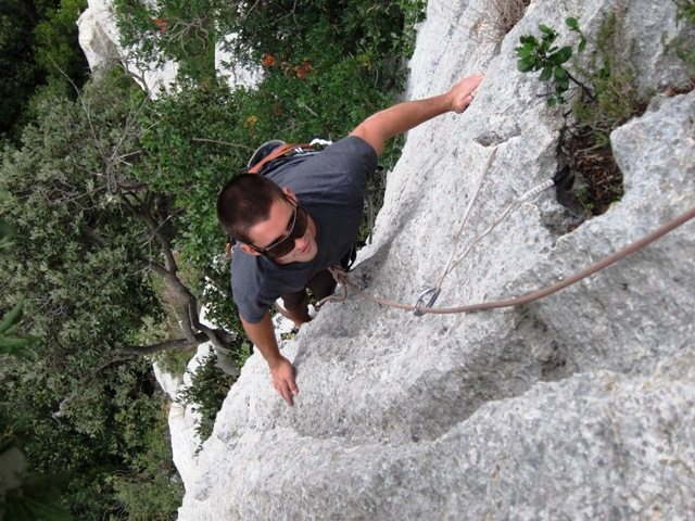 Rock Climbing Photo: Topping out on the first pitch of Terza Fessura