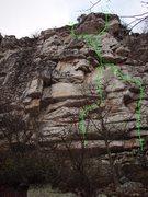 Rock Climbing Photo: Smoke And Lightning start on left and finishing th...
