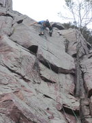 Rock Climbing Photo: On lead, whipped on the last move on this attempt....
