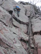 Rock Climbing Photo: Good shot of the crux, funky c3 in the notch.