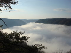 Rock Climbing Photo: The Gorge filled with clouds. Taken from the top o...