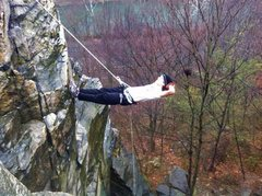 "Rappelling ""the cliffs"" by my college."