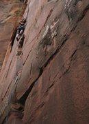 Rock Climbing Photo: On Cherry Crack, Zion
