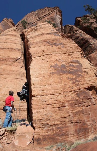 Climbing something...at the Confluence, Zion
