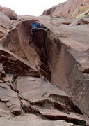 Rock Climbing Photo: Ryan Strong in the crux of the first pitch of Chal...