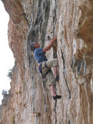 Rock Climbing Photo: Brent hanging the draws and pulling off a onsite o...