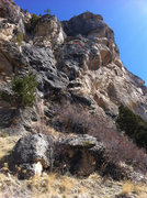 Rock Climbing Photo: Topo for Sully's Route.  2 Bolt anchor at the top....