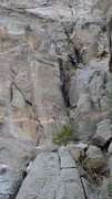 Rock Climbing Photo: Chris at the first bolt. He will head up and left ...