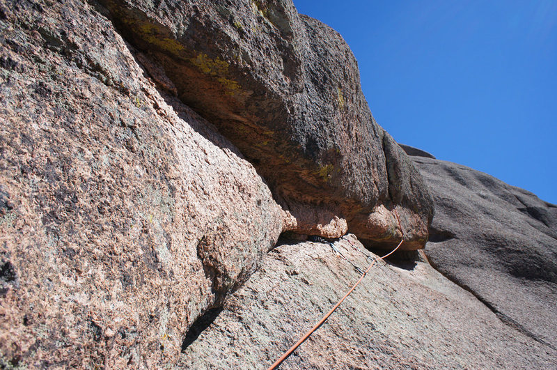 Rock Climbing Photo: Start of third pitch of Charley Don't Surf. Pitch ...