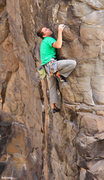 Rock Climbing Photo: Moving up the arete Diabolical (5.11)