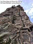 Rock Climbing Photo: Route drawn in with belays.