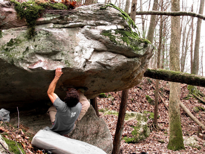 "Rock Climbing Photo: The first move out of the roof on ""Don't Go C..."