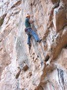 Rock Climbing Photo: Getting dark on Sunday Eric pulls off the FA.