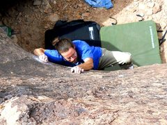 Rock Climbing Photo: Making the very hard (V2++) pull to start.