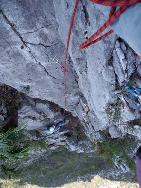 Chris Martinez on the fourth pitch of 5 am Breakfast, El Potrero Chico
