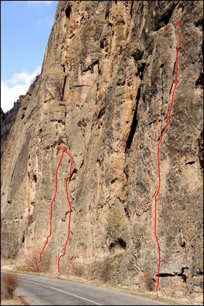 Topo of three popular sport routes in Noravank Canyon.