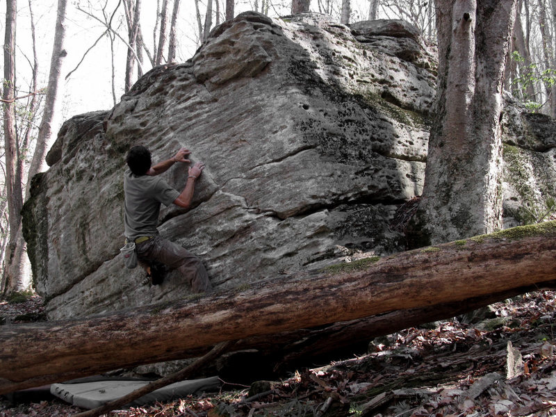 "Rock Climbing Photo: Aaron James Parlier mid-problem on ""Secret Sq..."