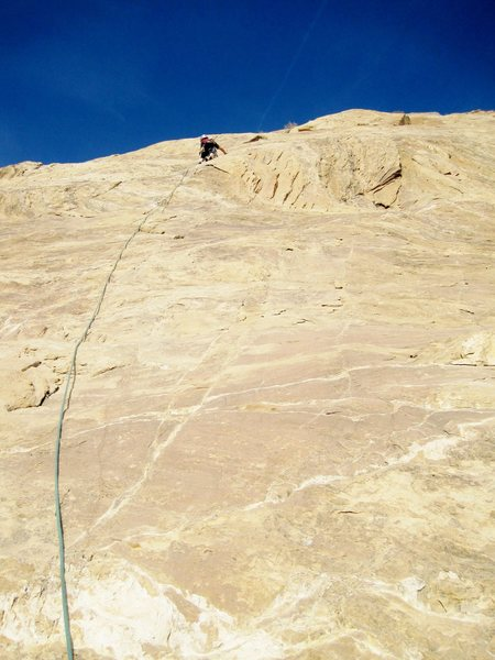 Rock Climbing Photo: On the crux section of P2