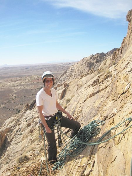 Rock Climbing Photo: Amber on the belay top of P2