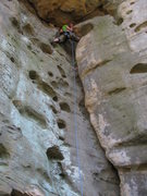 Rock Climbing Photo: James Wieman placing pro before traversing into th...
