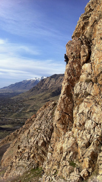 Rock Climbing Photo: Pete clipping the anchors on Interstellar.