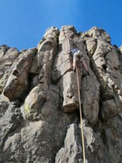 Rock Climbing Photo: On the crux moves of DOI, not sure this goes 11+, ...