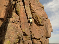 "Rock Climbing Photo: Garrett Gillest working ""Sleeper"" at age..."
