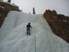 Rock Climbing Photo: Juggler busting some CO ice! Nice Fat Ice!
