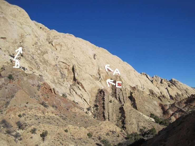 Tele photo from Two Fingers.A) Crusade.1310' 5.9 B). Rolling Stones.540' 5.9 C).Katzs Way.550' 5.10-