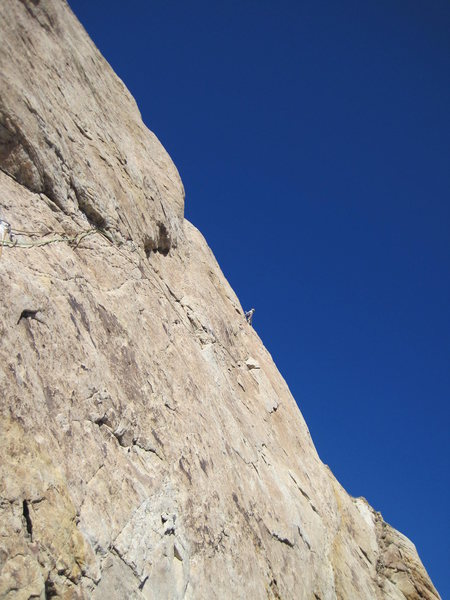 Andy at the belay P2