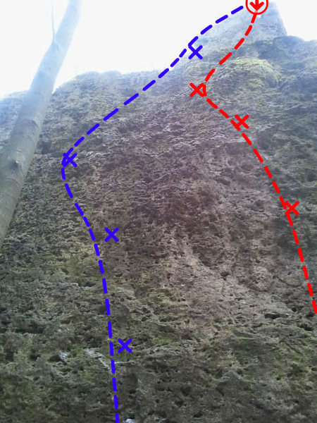Blue is Hänsel. Here you can see the location of the bolt at the top and the final section to the summit.