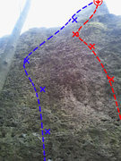 Rock Climbing Photo: Gretel is shown here in red. Climb the crack at th...