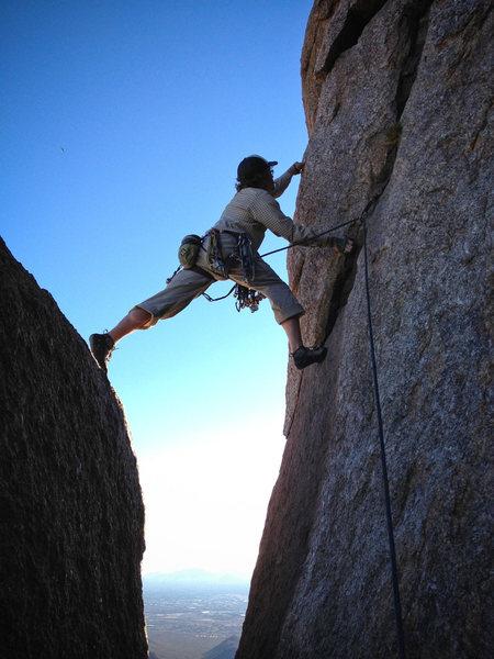 Rock Climbing Photo: Travis climbing Tom's Thumb.