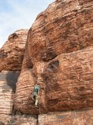 Rock Climbing Photo: A good view of the route.  Go up the crack like fe...