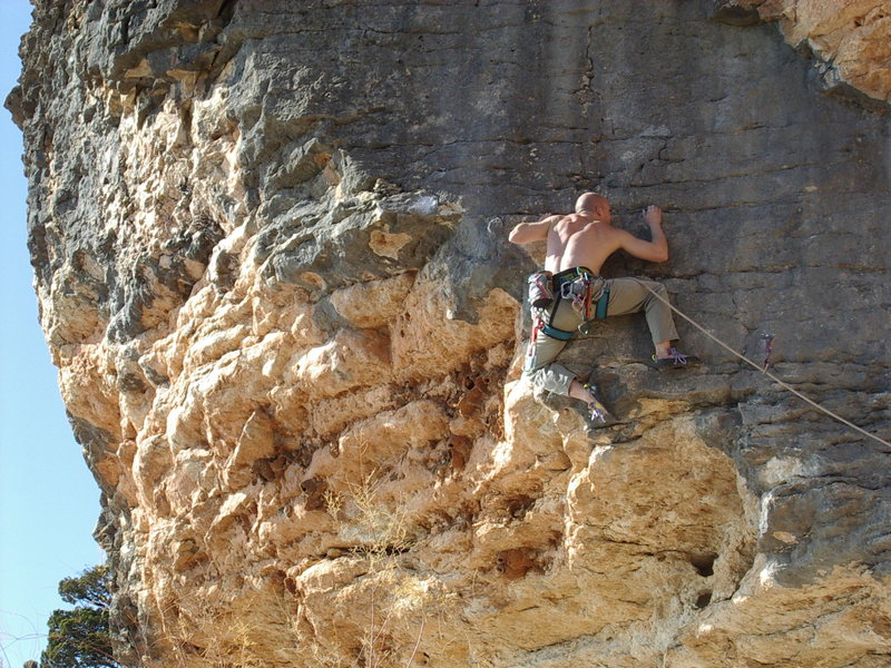 Matt King on the now gone route (i believe) on the Three Gray Faces area.  2003