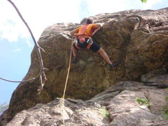 Rock Climbing Photo: The roof crux.