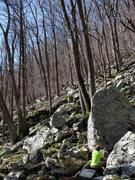 "Rock Climbing Photo: Ross on the FA of ""Sauce Arete"""